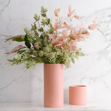 Load image into Gallery viewer, Ceramic Cylinder Vase Satin Matte - Tall | Coral - Magnolia Lane