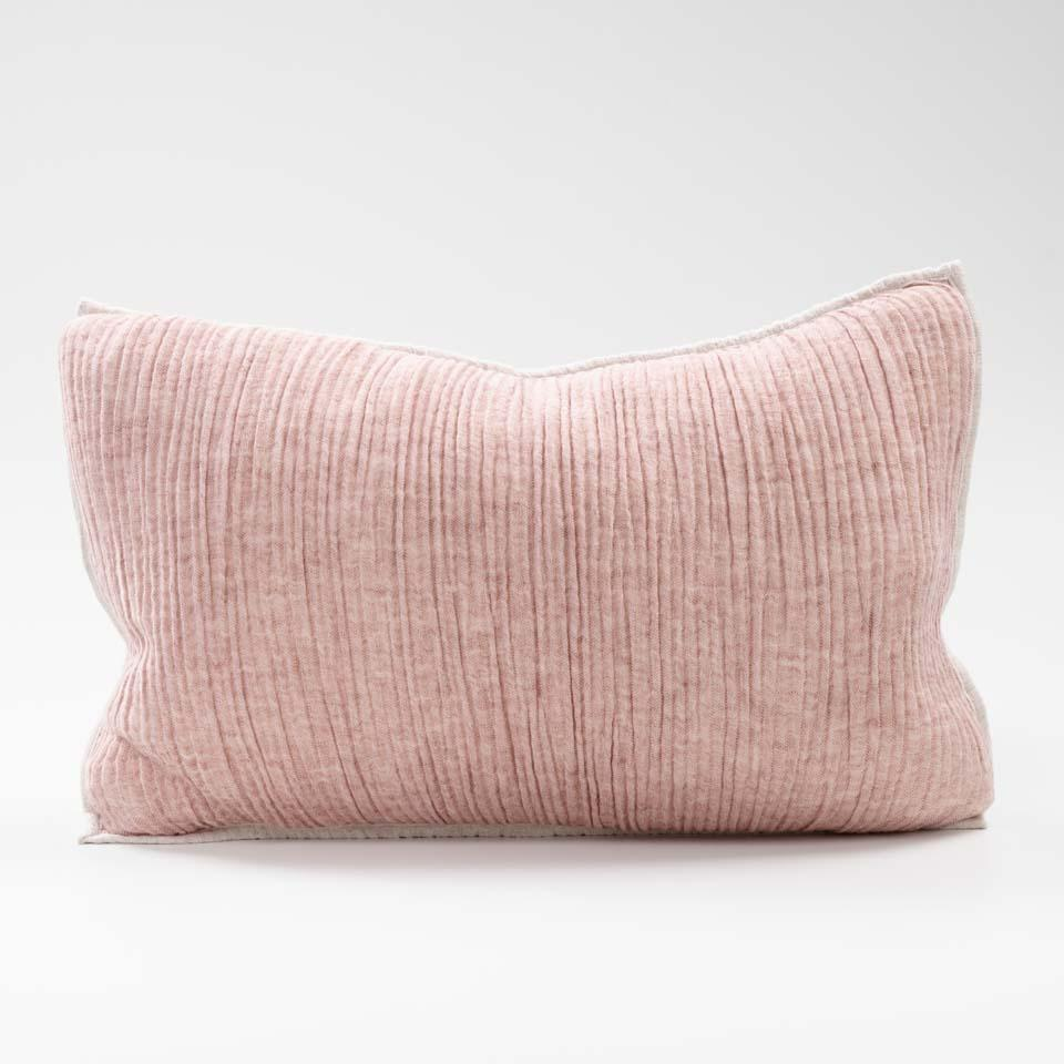Sea Foam Lumbar Cushion - Rose/Natural Reversible | 40x60cm - Magnolia Lane