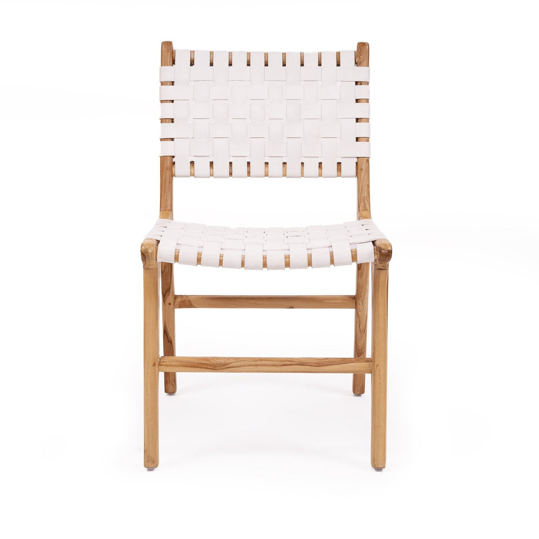 Woven Leather Dining Chair | White - Magnolia Lane