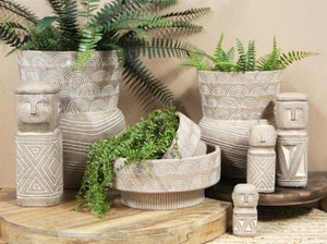 Azalea Tribal Cement Planter | Short - Magnolia Lane