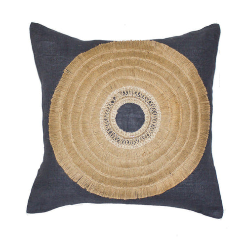 African Shield Navy Medium Cushion 50x50cm - Magnolia Lane