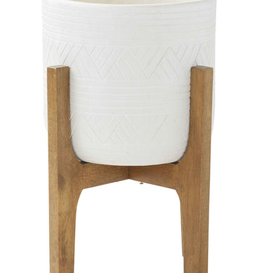Canyon Planter Pot On Stand | White - Magnolia Lane