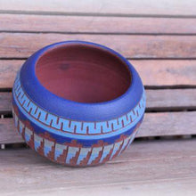 Load image into Gallery viewer, Ceramic planter\vase Turquoise Aztec design - Magnolia Lane