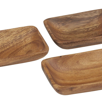 Acacia Wood Rectangular Bowl Set3 - Magnolia Lane