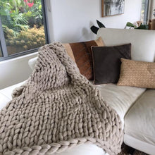Load image into Gallery viewer, Hand Knitted Throw | Natural Plaid 100% Organic Wool by Uniqwa Furniture - Magnolia Lane