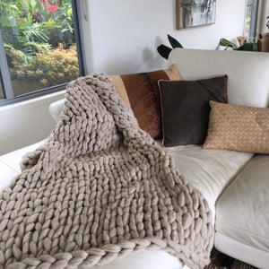 Hand Knitted Throw | Natural Plaid 100% Organic Wool by Uniqwa Furniture - Magnolia Lane
