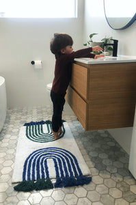 Arches Bath Mat with Tassels | Blue + Green - Oh Happy Home - Magnolia Lane