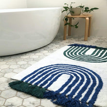 Load image into Gallery viewer, Arches Bath Mat with Tassels | Blue + Green - Oh Happy Home - Magnolia Lane
