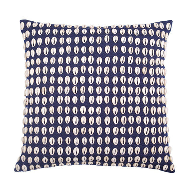 Kauri Shell Navy Outdoor Medium Cushion 50x50cm - Magnolia Lane