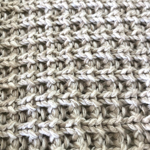 Moss Stitch Marled Cotton Knitted Throw - Magnolia Lane