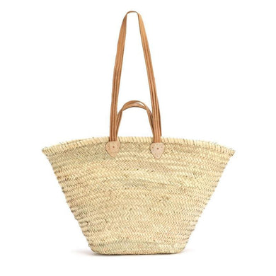 Natural Basket Flat Leather Handle Double-Magnolia Lane-Magnolia Lane