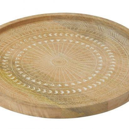 Ojai Mango Wood Etched Serving Tray - Magnolia Lane