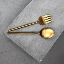 Load image into Gallery viewer, Ranya Brass Salad Servers - Magnolia Lane