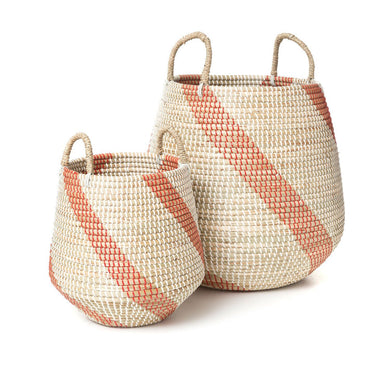 Seagrass & Plastic Basket with Rope Handles | Set of 2 - Magnolia Lane