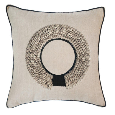 Shell Ring Black on Natural Cushion 55x55cm - Magnolia Lane