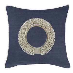 Shell Ring Navy Lounge Cushion 55cm x55cm - Magnolia Lane