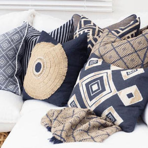 Shoowa Diamond Navy Lumber Cushion 35 x 53 cm - Magnolia Lane