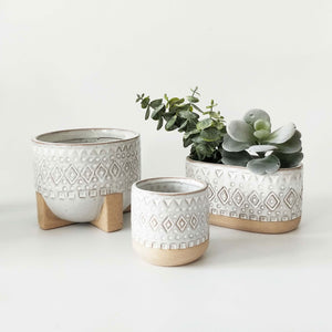 Zuri Planter with legs - White & Sand | Medium - Magnolia Lane