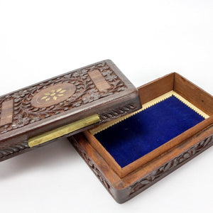 Vintage Sarna India Sheesham Wooden Storage Box with Inlaid Brass - Magnolia Lane