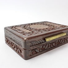 Load image into Gallery viewer, Vintage Sarna India Sheesham Wooden Storage Box with Inlaid Brass - Magnolia Lane