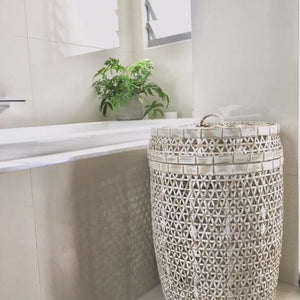 White Wash Bamboo Laundry Basket with Lid-Magnolia Lane-Magnolia Lane