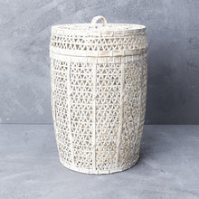 Load image into Gallery viewer, White Wash Bamboo Laundry Basket with Lid-Magnolia Lane-Magnolia Lane