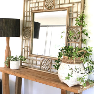Whitewashed Bamboo Basket with Seagrass Trim - Magnolia Lane