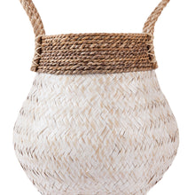 Load image into Gallery viewer, Whitewashed Bamboo Basket with Seagrass Trim - Magnolia Lane