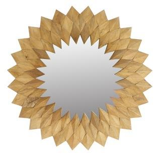 Wooden Round Diamond Design Mirror - Magnolia Lane