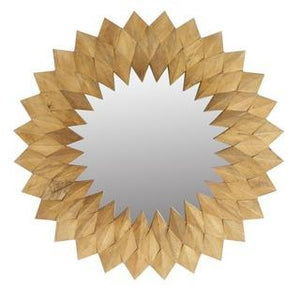 Wooden Round Diamond Design Mirror-Bisque-Magnolia Lane