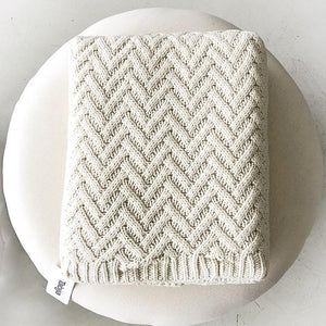 Zig Zag Cotton Throw Natural - Magnolia Lane