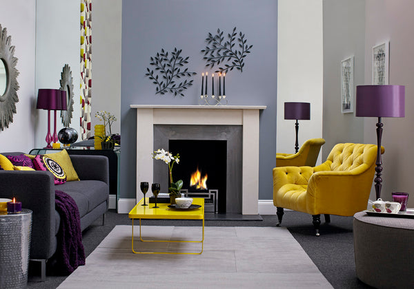 Purple accent and yellow accent chair and accessories