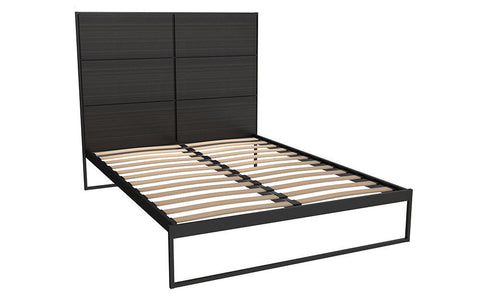 Federico Black Metal & Black Oak Bed Frame With Headboard - Double