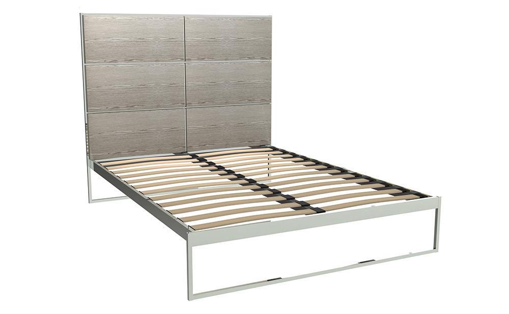 Federico Chrome & Weathered Oak Bed Frame With Headboard - Double