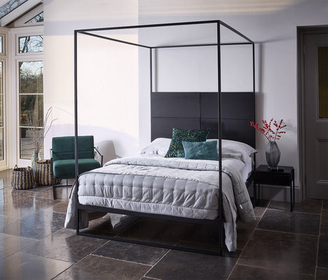 Federico Matt Black & Black Oak Bed Frame With Headboard And Canopy Frame - Double