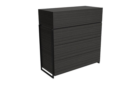 Federico Black Oak & Black Metal Chest of Drawers - Four Drawer