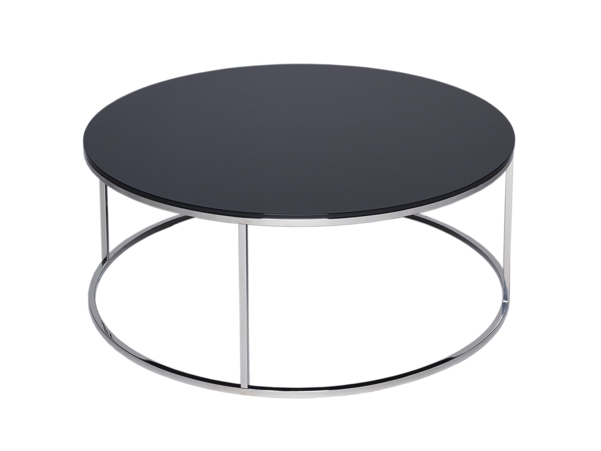 Circular Coffee Table - Kensal BLACK with POLISHED steel base