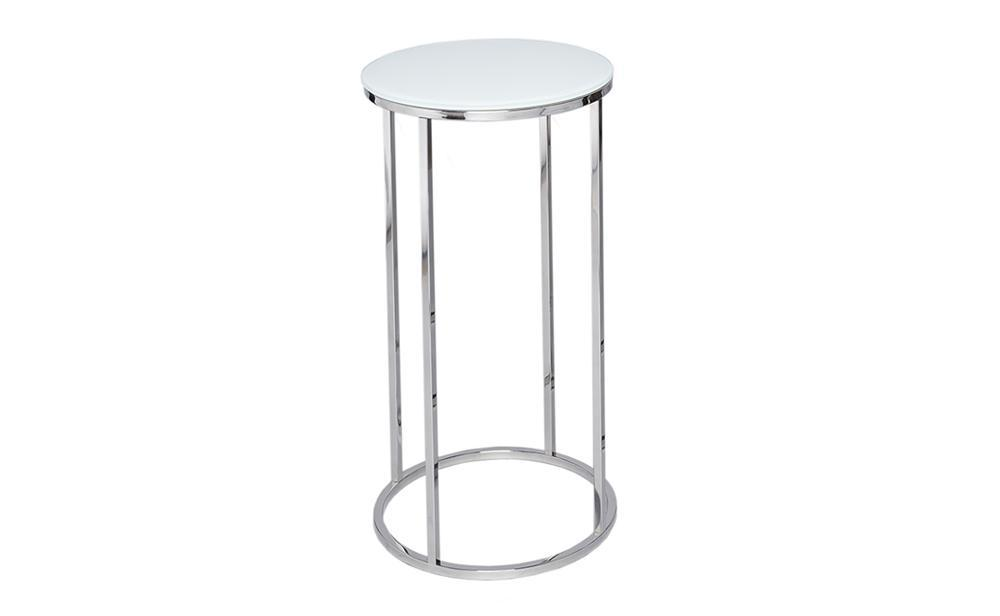 Kensal White Glass & Steel Circular Lamp Stand