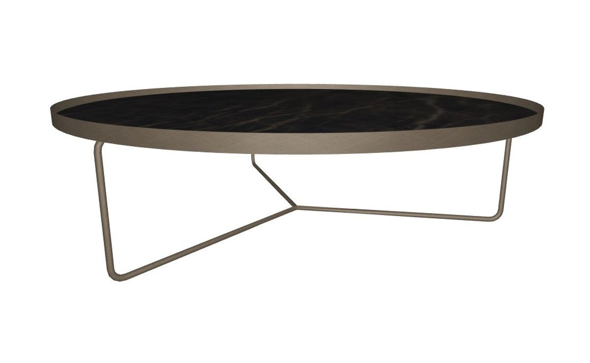 Billy Keramik Coffee Table - Glossy Portoro & Brushed Bronze