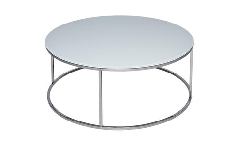 GillmoreSPACE Circular Coffee Table - Kensal WHITE with POLISHED steel base