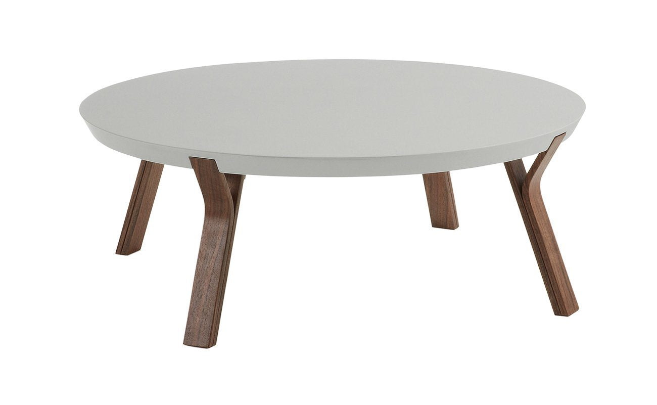 Imporre Round Coffee Table - Grey with Walnut Legs