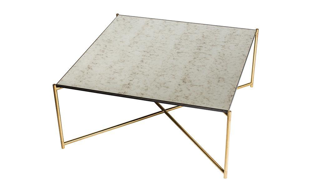 Iris Antiqued Glass & Brass Square Coffee Table