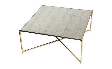 GillmoreSPACE Iris Antiqued Glass & Brass Square Coffee Table