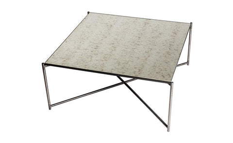 GillmoreSPACE Iris Antiqued Glass & Gun Metal Square Coffee Table