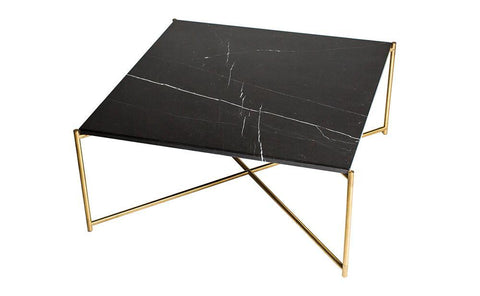 GillmoreSPACE Iris Black Marble & Brass Square Coffee Table