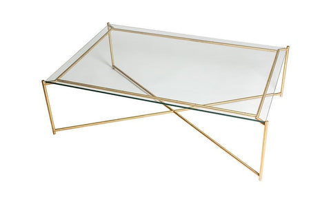 GillmoreSPACE Iris Clear Glass & Brass Frame Rectangular Coffee Table