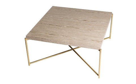 GillmoreSPACE Iris Weathered Oak & Brass Square Coffee Table