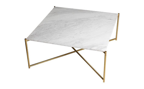 GillmoreSPACE Iris White Marble & Brass Square Coffee Table