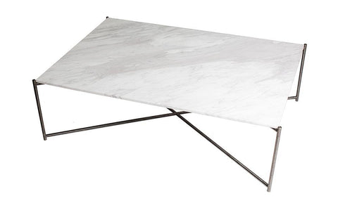 GillmoreSPACE Iris White Marble & Gun Metal Frame Rectangular Coffee Table