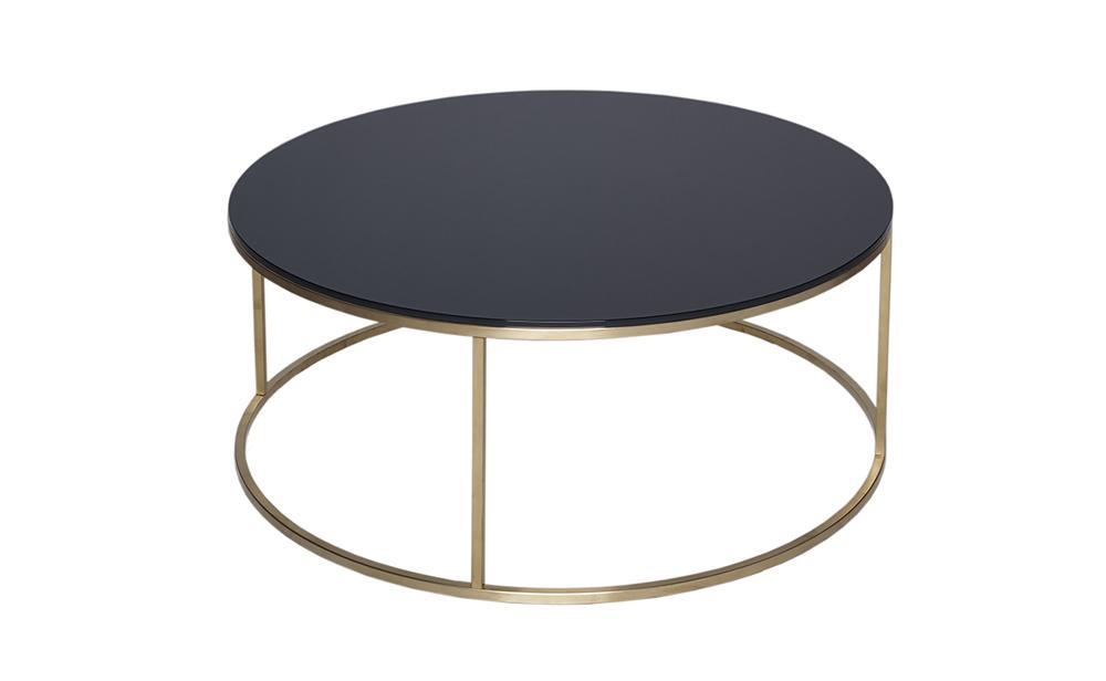 Kensal Black Glass & Brass Circular Coffee Table